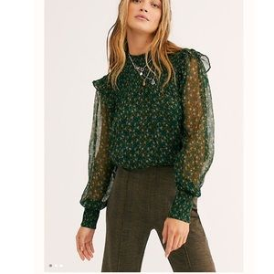 free people Roma top. Hunter Green. Medium